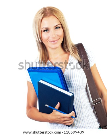 Happy female, young pretty teen student, girl holding books,  portrait of smart cute schoolgirl, beautiful young woman with textbooks and laptop bag isolated on white background, education concept - stock photo
