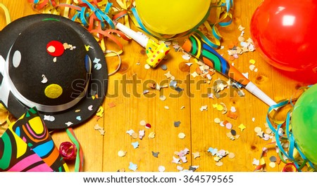 Happy festive background with balloons - stock photo