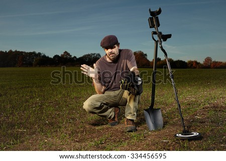 Happy finder of little treasure - stock photo
