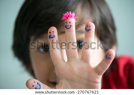 Happy finger smileys - stock photo
