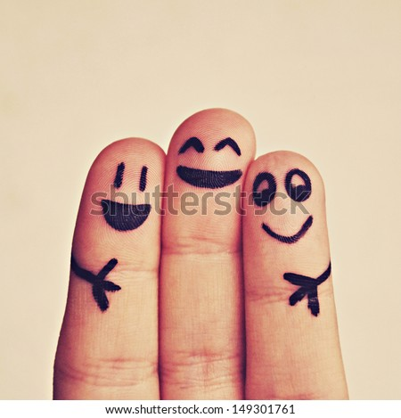 happy fingers - stock photo