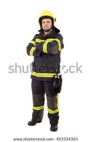 happy firefighter posing. Full length studio shot isolated on white. - stock photo