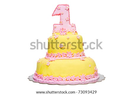 Happy First Birthday Yellow Fondant Cake decorated with pink flowers on a white background - stock photo