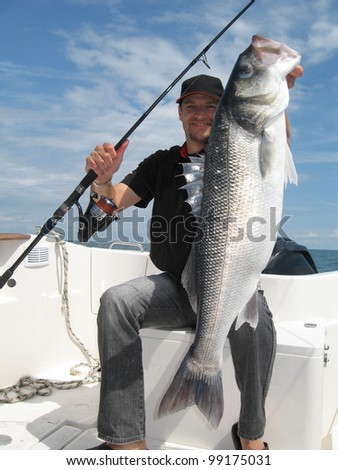 Happy  fisherman holding a sea bass - stock photo