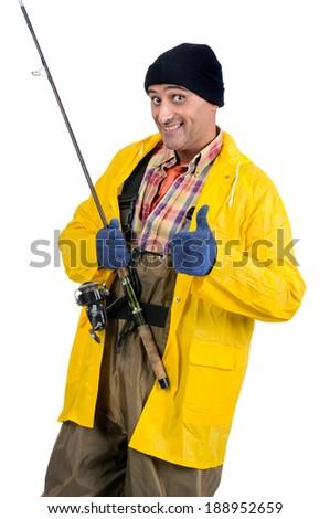Happy fisherman isolated in white - stock photo