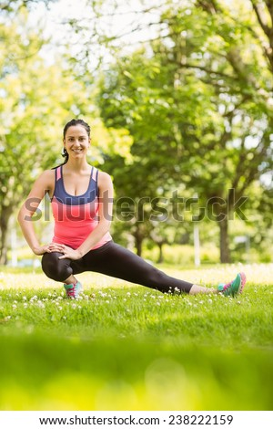 Happy fit brunette stretching on grass in the park - stock photo