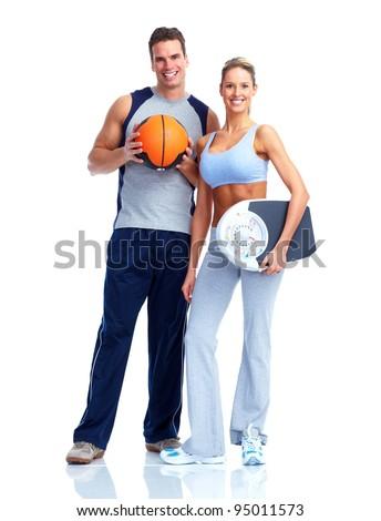 Happy fitness couple. Isolated on white background. - stock photo