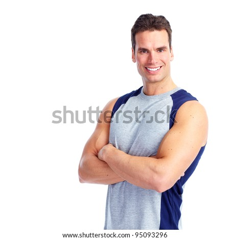 Happy Fitness man. Isolated on white background.