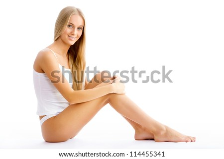 Happy fitness woman isolated on white background - stock photo