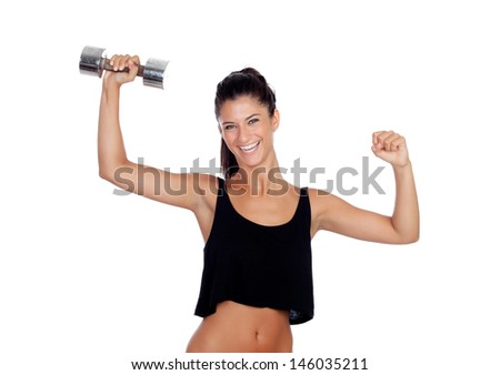 Happy fitness woman lifting dumbbells isolated on white background - stock photo