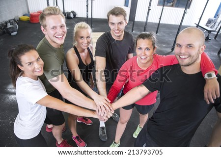 Happy fitness workout team - stock photo