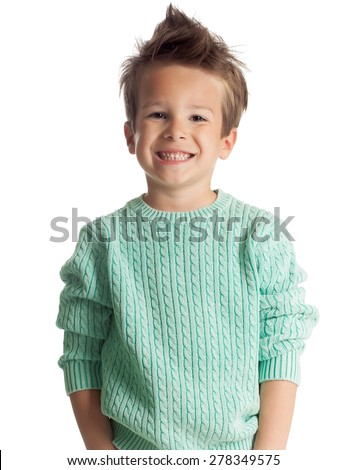 Happy five year old European boy posing over white studio background. Child with big smile. - stock photo