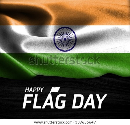 Happy Flag Day Typography India flag on wood Texture background - stock photo