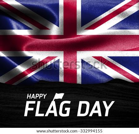 Happy Flag Day Typography United Kingdom flag on wood Texture background - stock photo