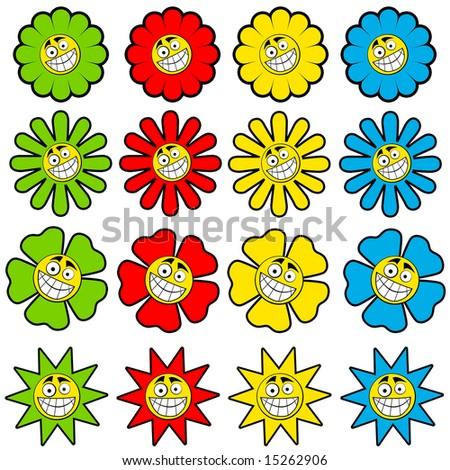 Happy flower symbols - stock photo