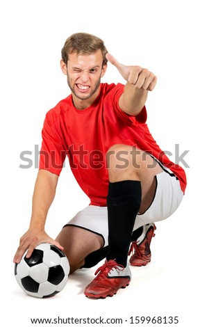 Happy football player with a ball isolated in white - stock photo