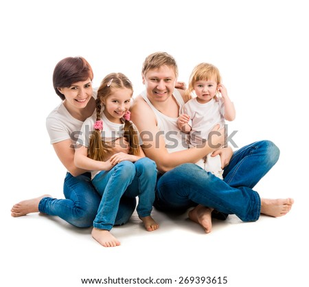 happy four members family isolated on white - stock photo