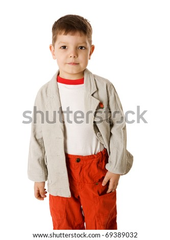 Happy Four years boy portrait isolated on white