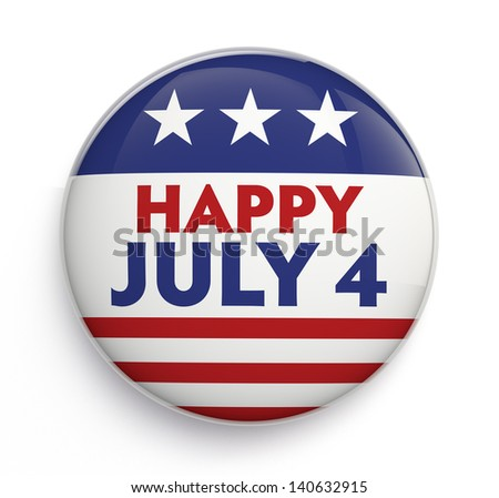 Happy Fourth of July badge. Clipping path included for easy selection. - stock photo