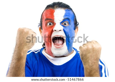 Happy French Supporter on white background . - stock photo