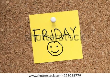 Happy Friday Note - stock photo
