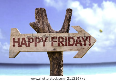 Happy Friday! sign with a beach on background  - stock photo