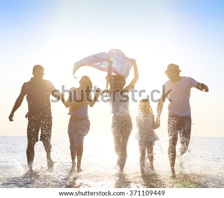 Happy friends ��elebration beach party summer. Holiday and vacation concept