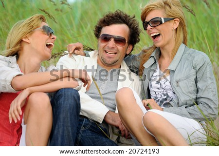 Happy friends have fun - stock photo