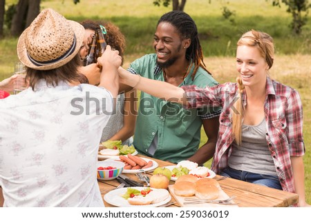 Happy friends in the park having lunch on a sunny day - stock photo