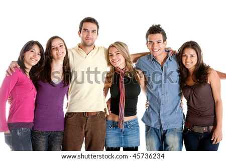 Happy friends isolated over a white background