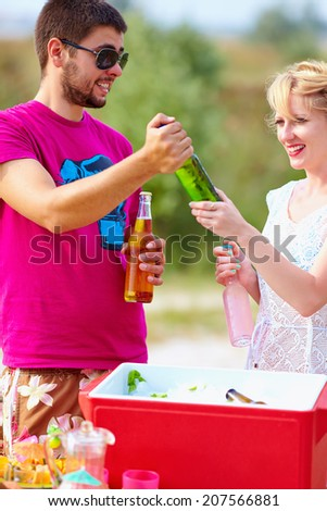 happy friends on picnic party - stock photo