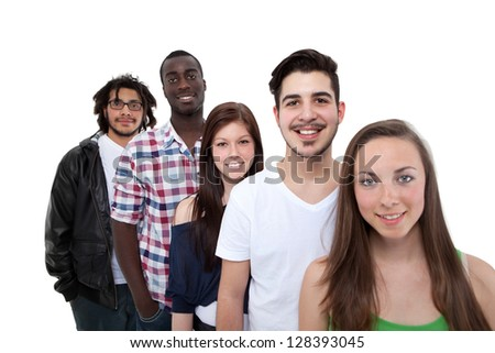 Happy Friends Standing In Row On White Background - stock photo