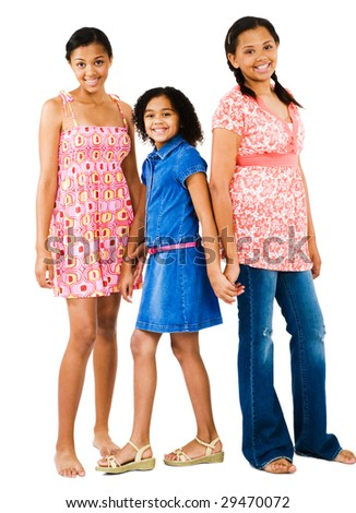 Happy friends standing together and posing isolated over white - stock photo