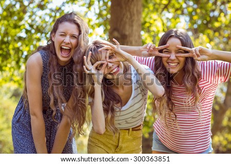 Happy friends taking a selfie on a summers day - stock photo