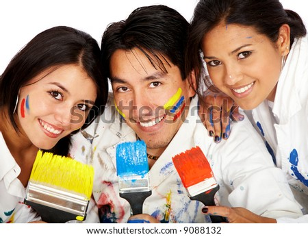 happy friends together with paint brushes isolated over a white background - stock photo