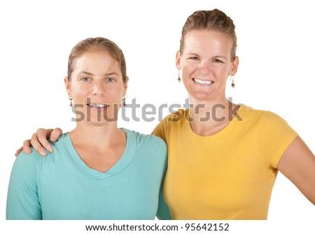 Happy friends together with smiles over white background