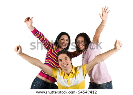 Happy friends with hands up concept of  successful and happiness  friendship isolated on white background - stock photo