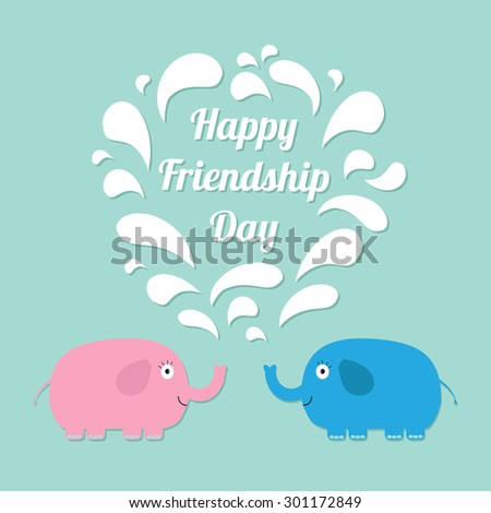 Happy Friendship Day Pink and blue elephants with heart fountain Flat design - stock photo