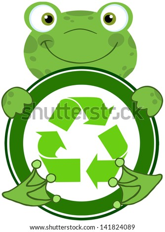 Happy Frog Hugging Banner With Recycle Symbol. Raster Illustration.Vector Version Also Available In Portfolio. - stock photo