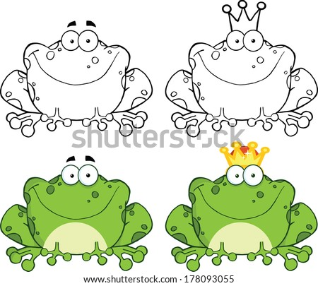Happy Frog Sitting Cartoon Character. Set Raster Collection - stock photo