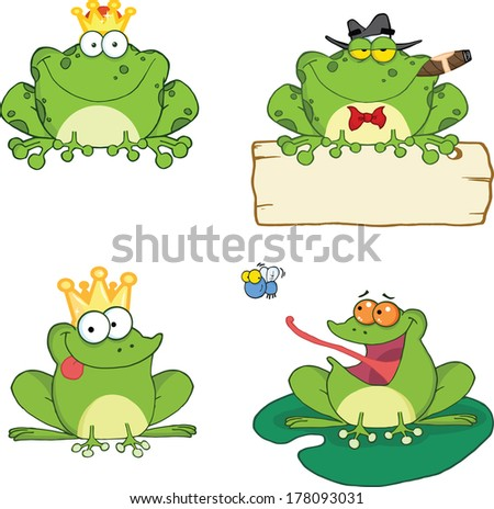 Happy Frogs Cartoon Characters 1. Set Raster Collection - stock photo