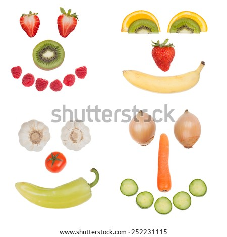 Happy fruit and vegetable faces collection, isolated on white background - stock photo