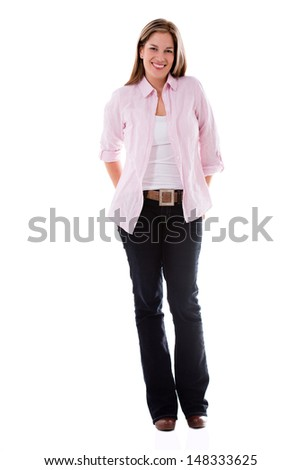 Happy fullbody casual woman smiling - isolated over white  - stock photo