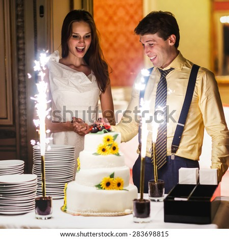happy fun bride and groom cuting big white weddin cake decorate sunflowers ladybird and firework - stock photo