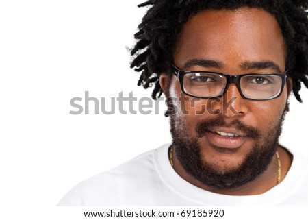 happy funny african american man headshot over white in studio - stock photo