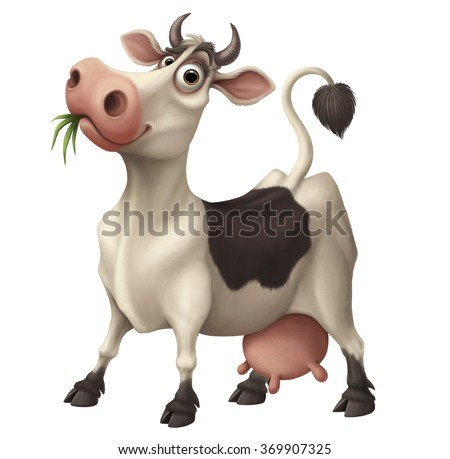 Happy funny cartoon cow chewing grass - stock photo