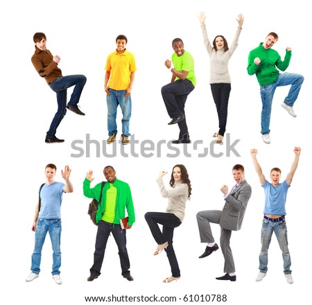 Happy funny people - stock photo