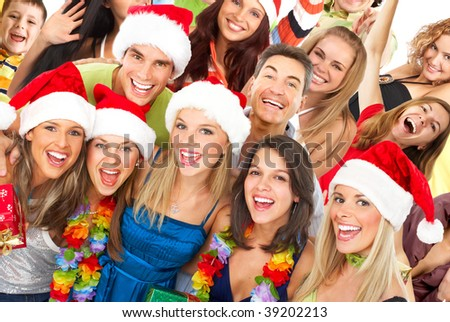 Happy funny people. Christmas. Party. - stock photo