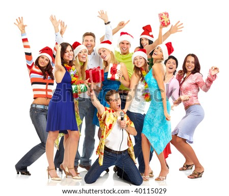 Happy funny people. Christmas. Party. Isolated over white background - stock photo