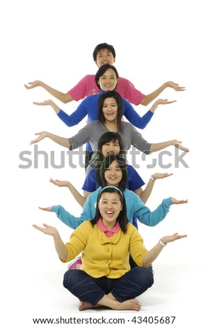 Happy funny people. Isolated over white - stock photo